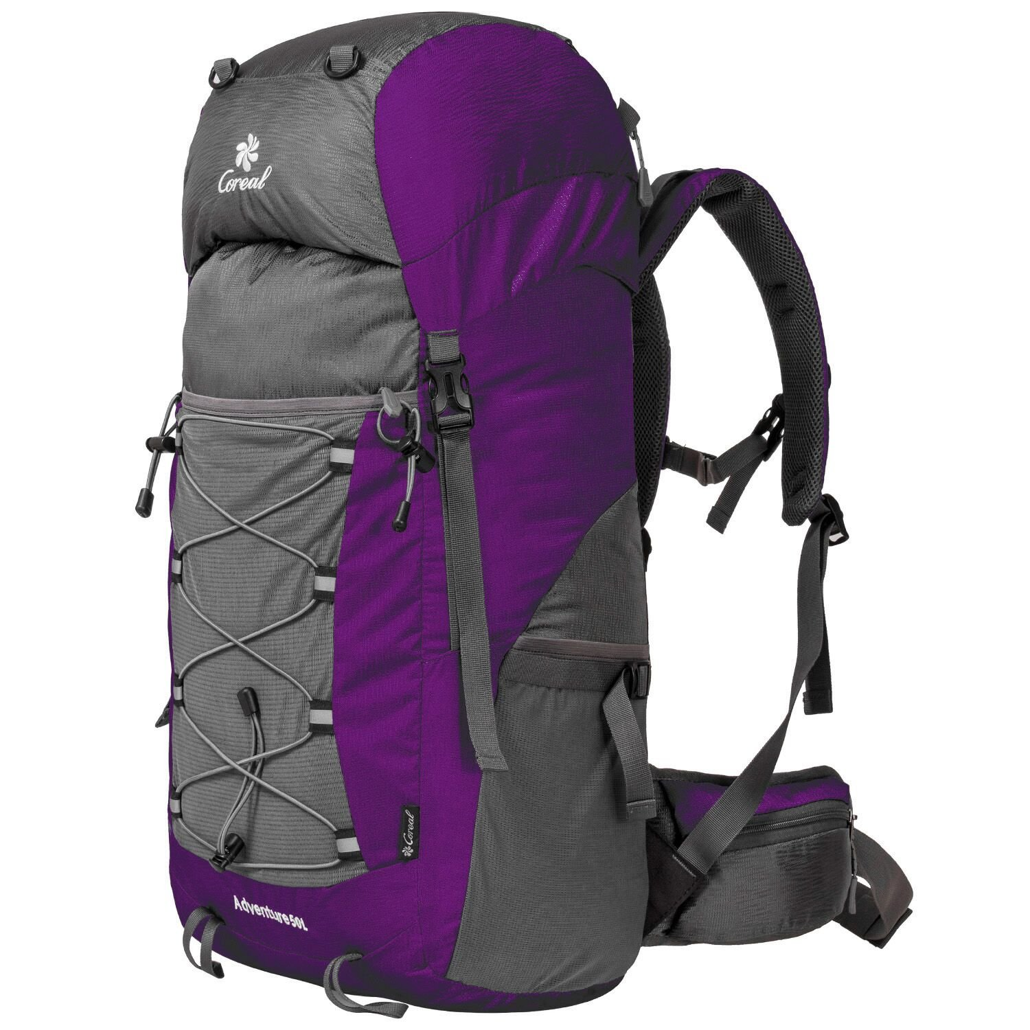 Coreal Unisex 50l Hiking Backpack for Travel Outdoor Sport Camping Trekking Lightweight Purple
