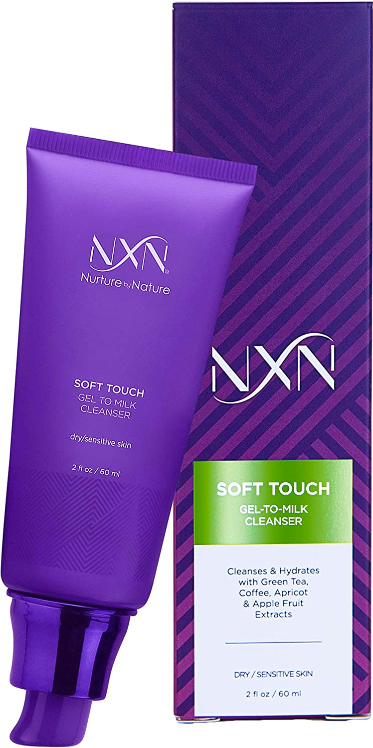 NxN Gel-to-Milk Facial Cleanser - Gentle, Daily Anti-Aging Face Wash For Hydrating Dry/Sensitive Skin 2.0 FL Oz