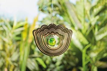 3D Edelstahl Windspiel Blume mit Echtglaskugel Gartendeko ...