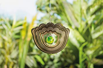 3D Edelstahl Windspiel Blume Mit Echtglaskugel Gartendeko Gartendekoration