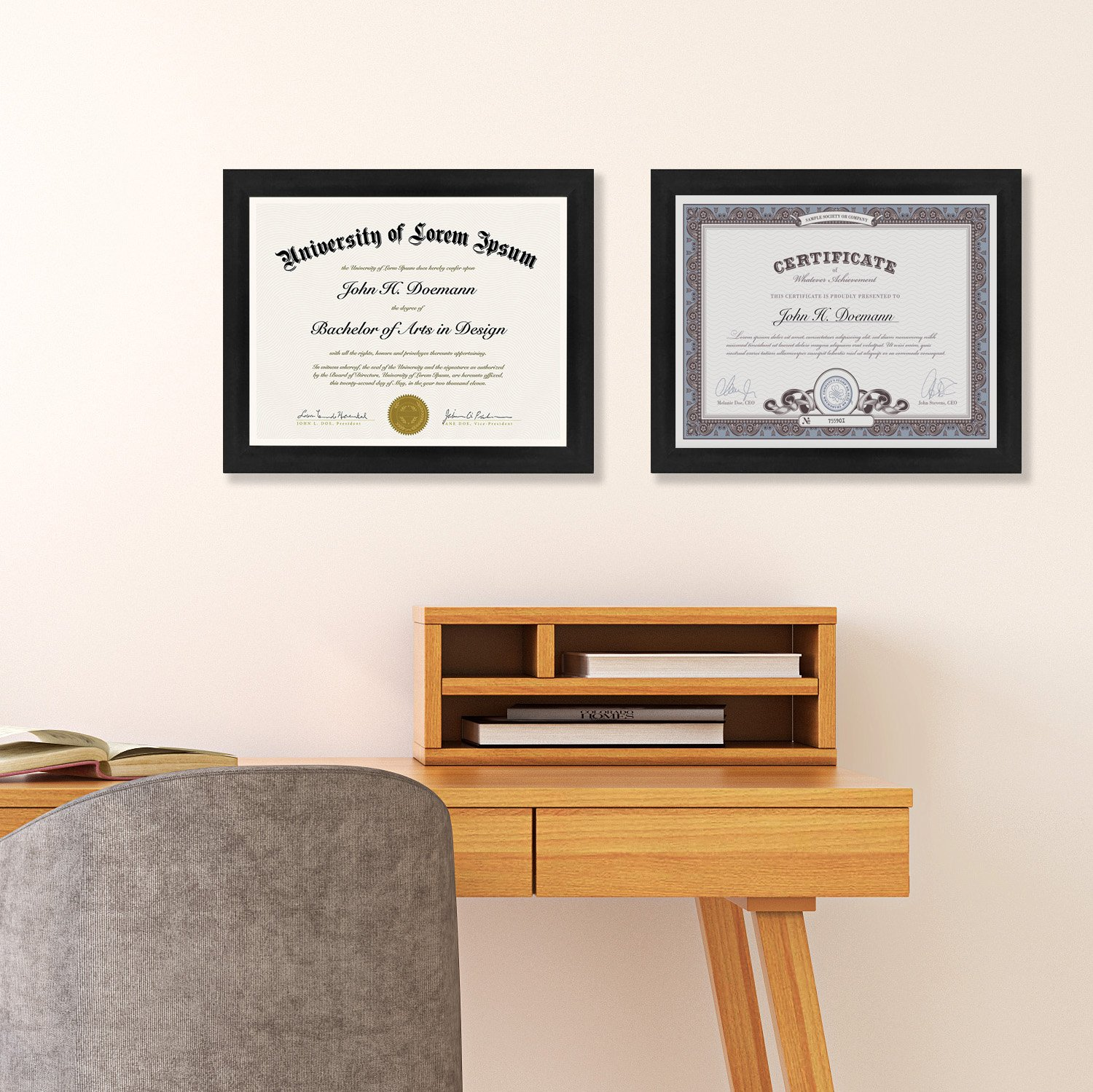 2-Pack, 8.5x11 Inch Document Frames - Made to Display Certificates ...