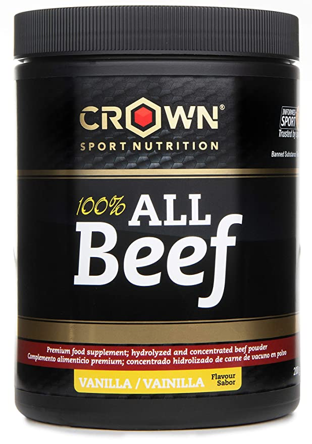 Crown Sport Nutrition 100% All Beef Proteína de Carne, Suplemento para Deportistas, Sabor de Vainilla, 200 gr: Amazon.es: Alimentación y bebidas