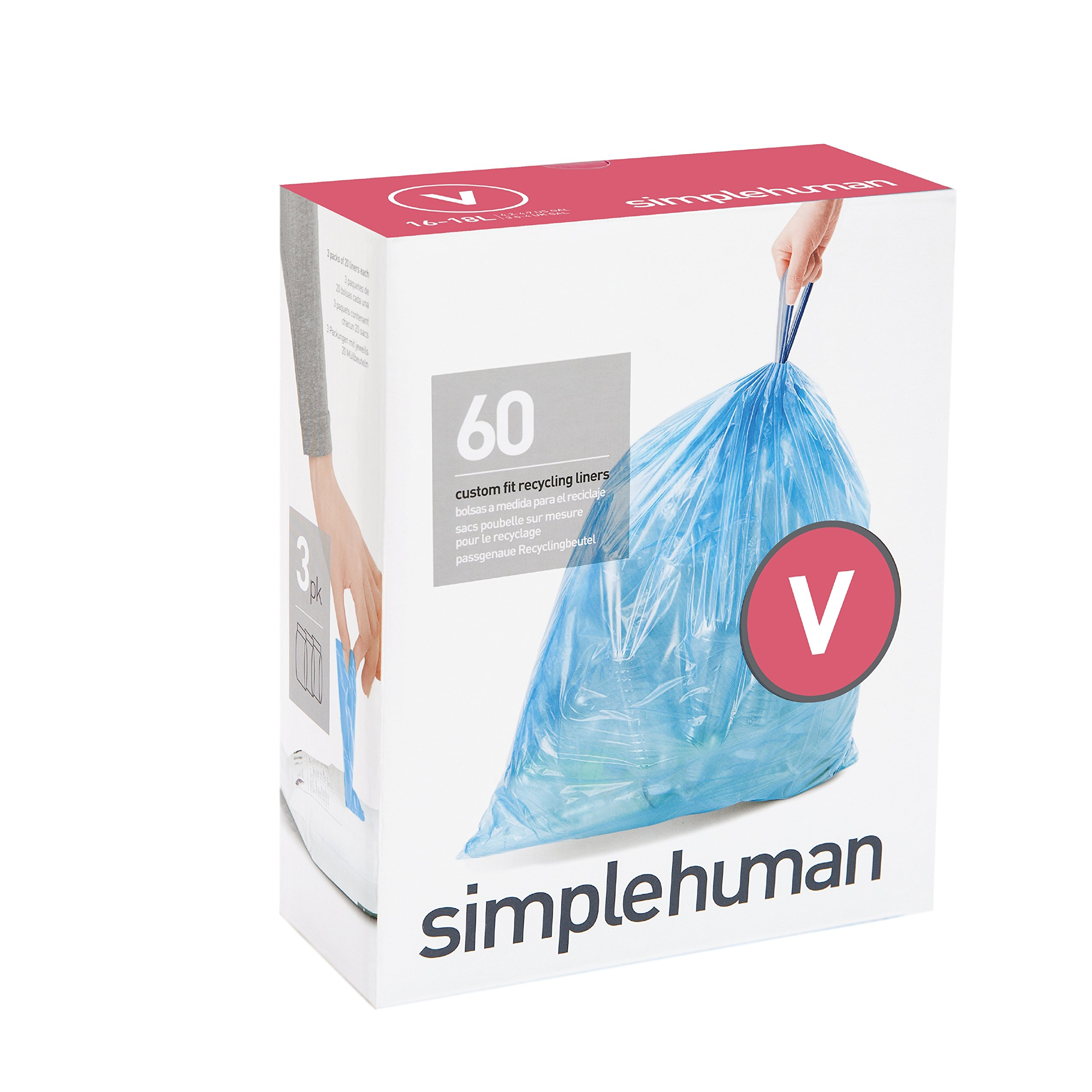 Amazon.com: SIMPLEHUMAN LINER H 60PK (Pkg of 3): Health ...