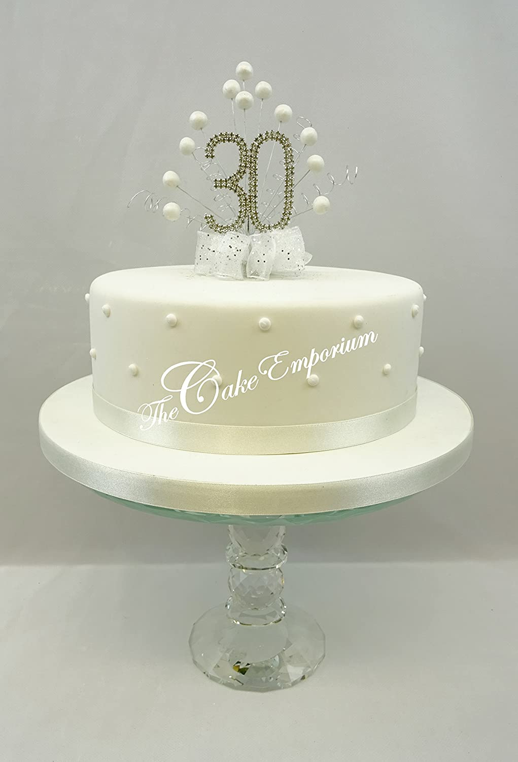 CAKE DECORATION PEARL 30th WEDDING ANNIVERSARY DIAMANTE CAKE TOPPER ...