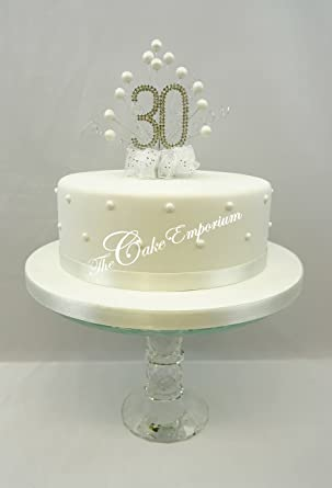 CAKE DECORATION PEARL 30th WEDDING ANNIVERSARY DIAMANTE TOPPER PEARLS WITH MATCHING RIBBON PACK Amazoncouk Grocery