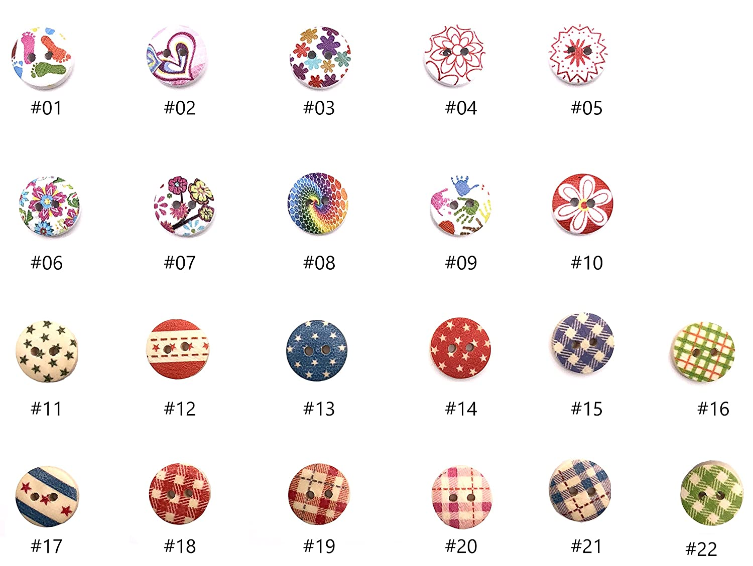 200pcs DIY Mixed Wood Wooden Buttons 2 Holes for Children Handmade Art Pattern Clothing Sewing Scrapbooking Knitting Crafts Button Round Multicolor Colorful Single