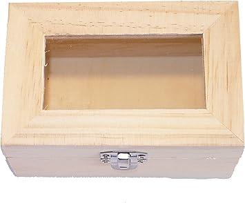 Caja de madera – Cofre del Tesoro – Madera de pino – Rectangular – con tapa de cristal (en acrílico – Cierre metálico – Medium – (1 x 1pieza): Amazon.es: Salud y cuidado personal