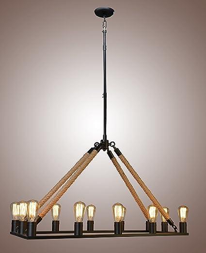 premium selection 06115 8847c Rope Filament Rectangular Chandelier Jute 39 Inches Rustic Iron Finish  Pendant Prestigious (12 Lights Rod)