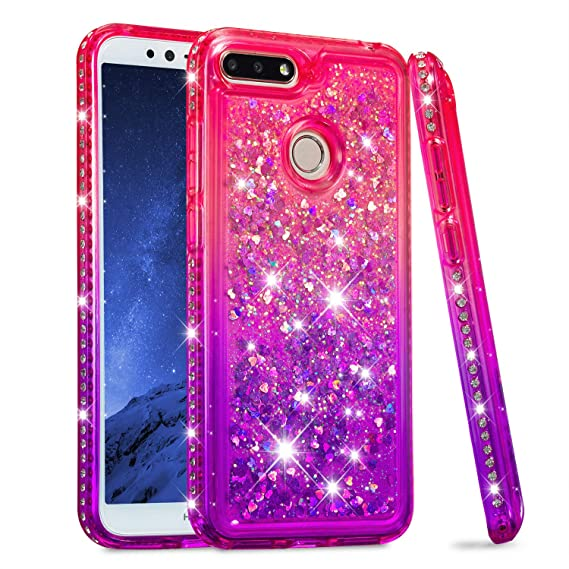 timeless design 7a114 b8c2f Huawei Honor 7A Case, Huawei Honor 7A Glitter Liquid Case, Bosunny Liquid  Glitter Bling Flowing Case Cover, Premium Shockproof Anti-Scratch Back  Cover ...