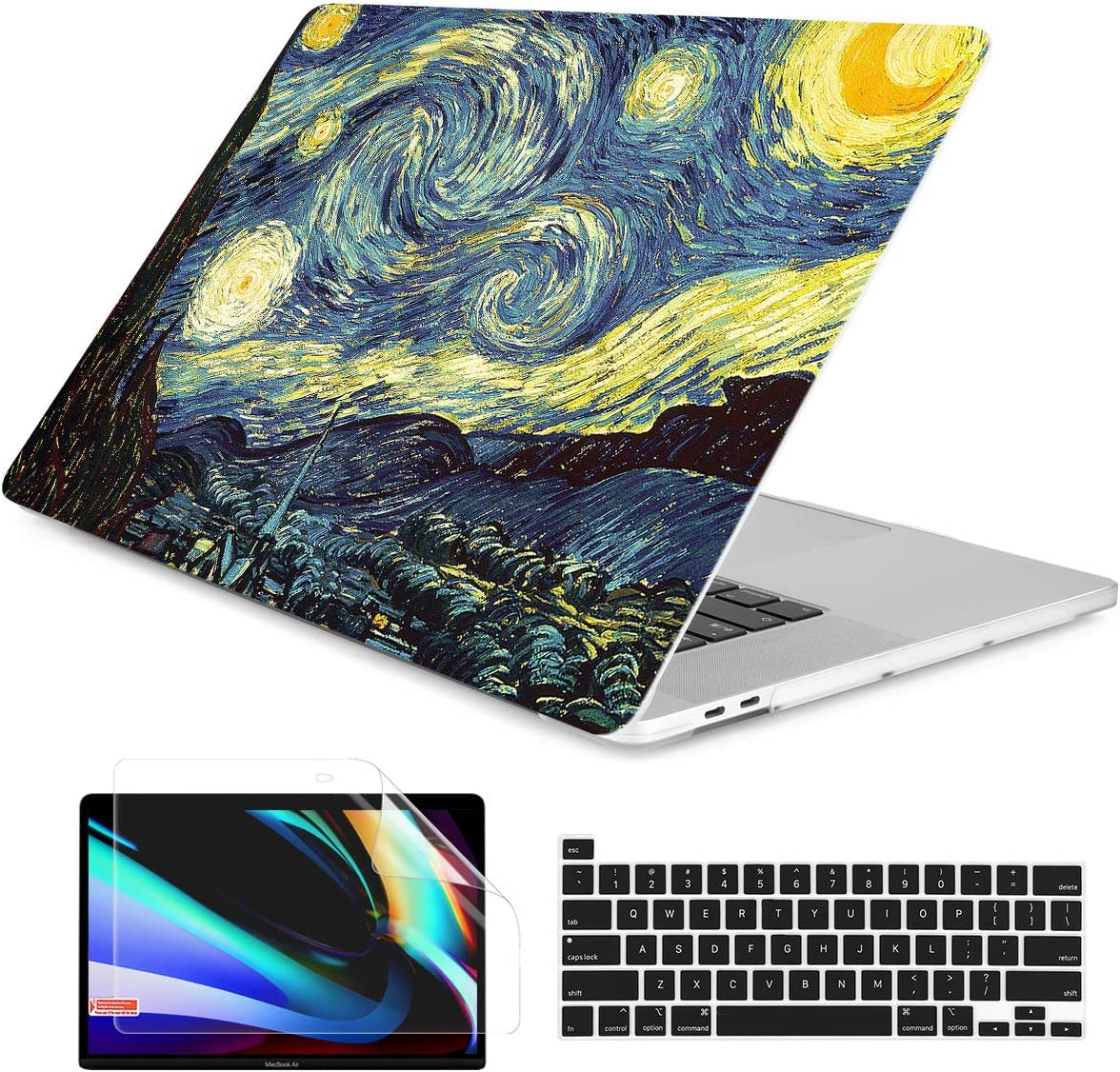Dongke MacBook Pro 13 inch Case Model A2251/A2289 2020 Released, Plastic Hard Shell Case Cover for MacBook Pro 13 inch with Retina Display & Touch Bar Fits Touch ID, Starry Night