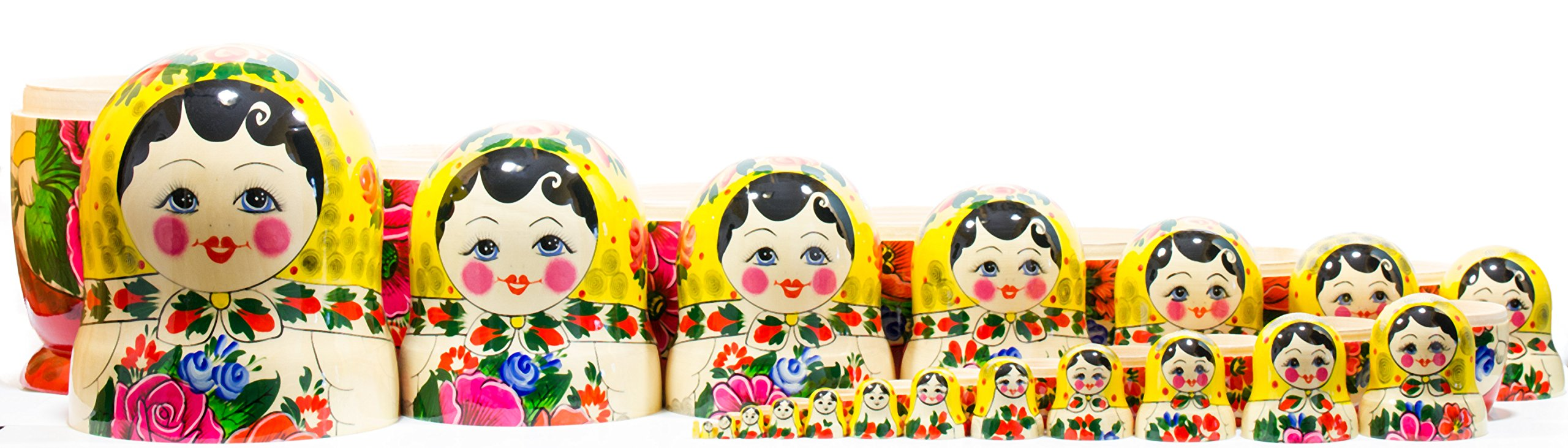 Russian Nesting Doll -Semenovo - Hand Painted in Russia - 6 Color|Size Variations - Wooden Decoration Gift Doll - Traditional Matryoshka Babushka (14``(20 Dolls in 1), Yellow - Red) by craftsfromrussia (Image #4)