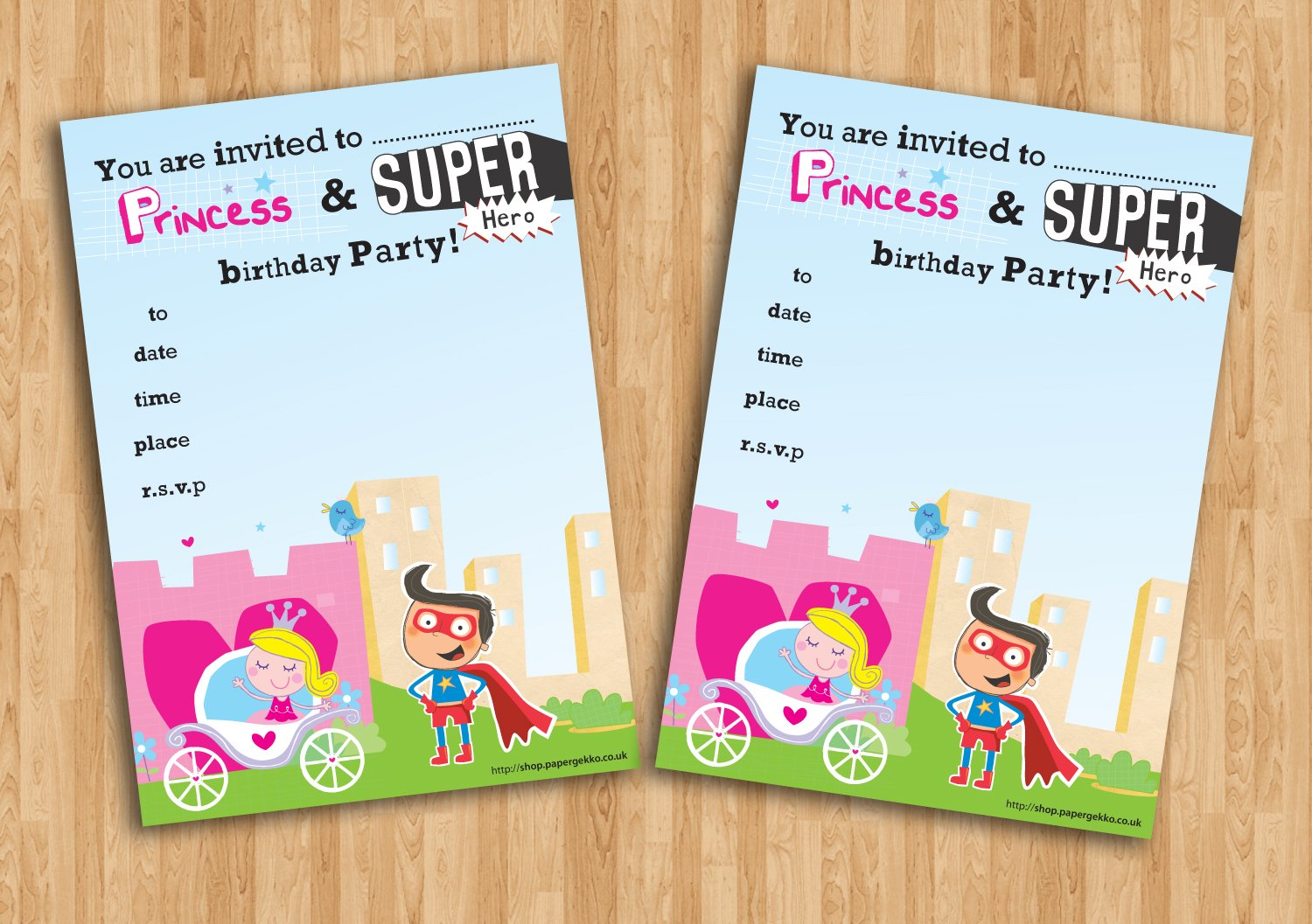 20 Children\'s Birthday Party Invitations Princess and Superhero ...