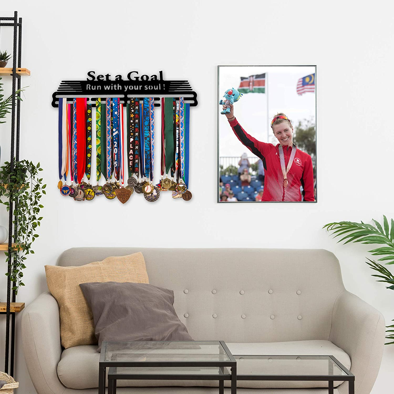 Ideal for Runners /& All Sport Athletes Matte Black Stainless Steel Medal Holder Award Ribbon Holder with Free Neoprene Armband Soaring Dreams Medal Hanger Medal Display Rack for Over 30 Medals