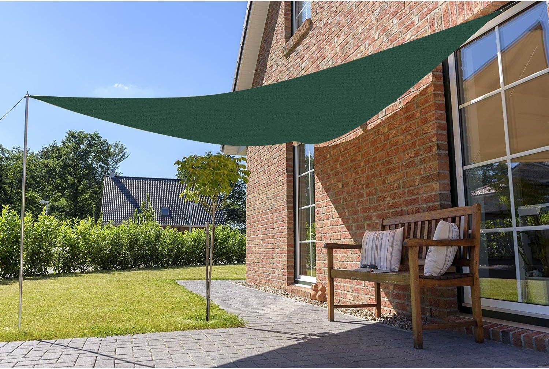 Sekey Toldo Vela de Sombra Triangular HDPE Protección Rayos UV Resistente Permeable Transpirable para Patio, Exteriores, Jardín, con Cuerda, 5×5×5m Verde: Amazon.es: Jardín
