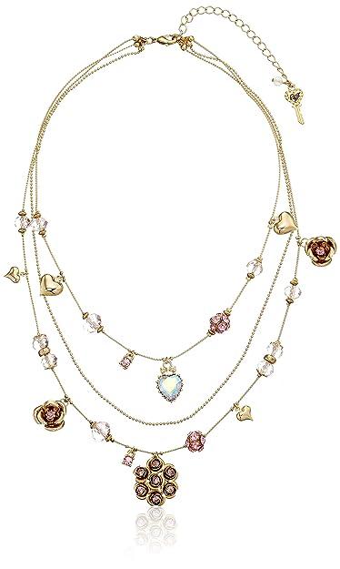 092dd5db1c490 Amazon.com: Betsey Johnson Pink Cherry Bead Illusion Necklace ...