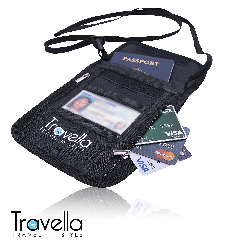 Blocking Case with Neck Strap Anti-theft Document and Passport Travel Wallet RFID Passport Holder Neck Wallet
