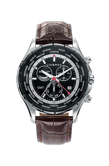 Viceroy Reloj Multiesfera para Hombre de Cuarzo con Correa en Cuero 401081-57: Amazon.es: Relojes