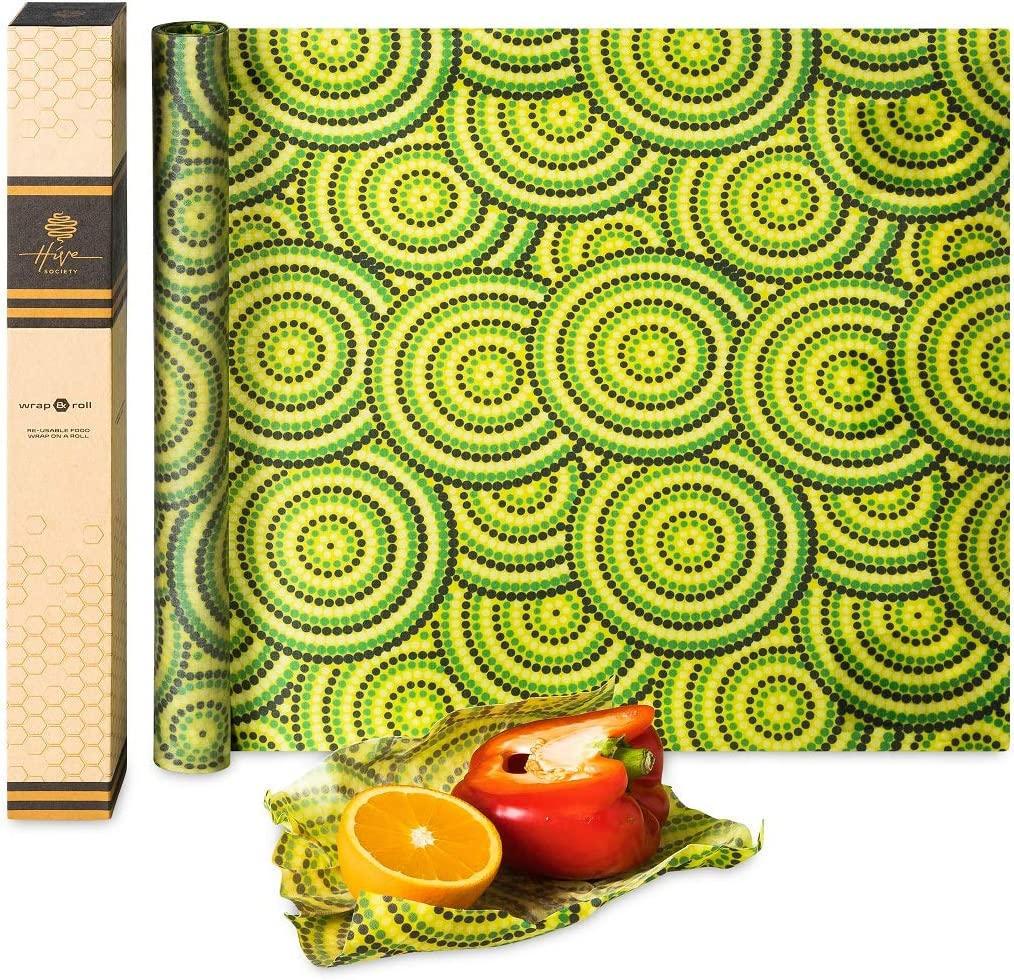 Hive Society Beeswax Wrap Roll Large 80 x 16 inch, Organic Reusable Beeswax Food Wrap, Plastic Free Eco Friendly Alternative to Cling Wrap, Sustainable Food Storage, Washable Biodegradable (Green)