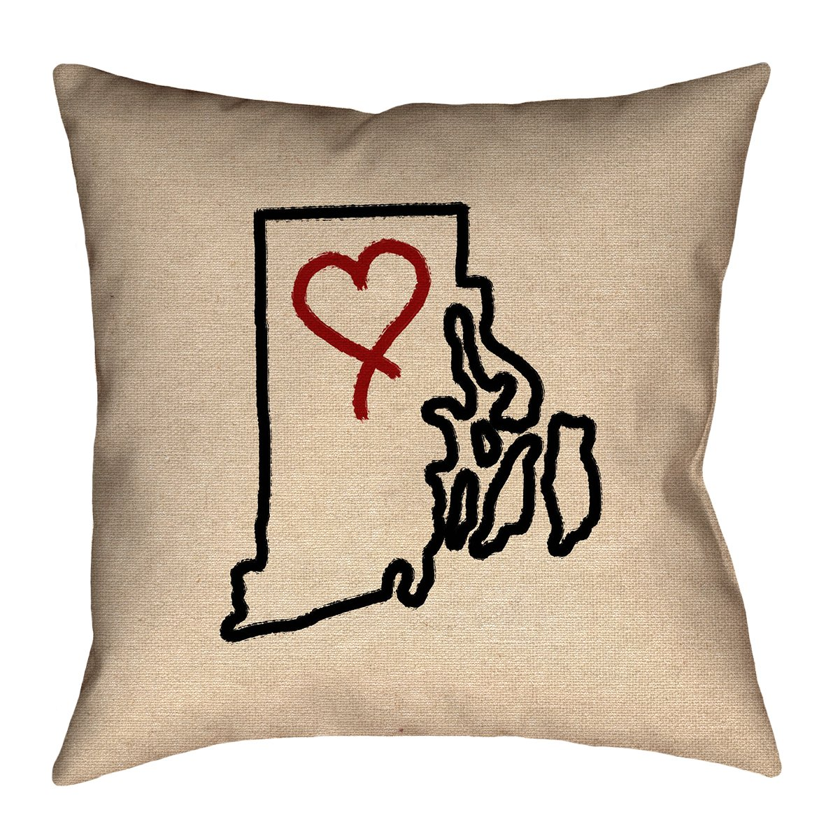 ArtVerse Katelyn Smith 20 x 20 Cotton Twill Double Sided Print with Concealed Zipper /& Insert Rhode Island Love Pillow