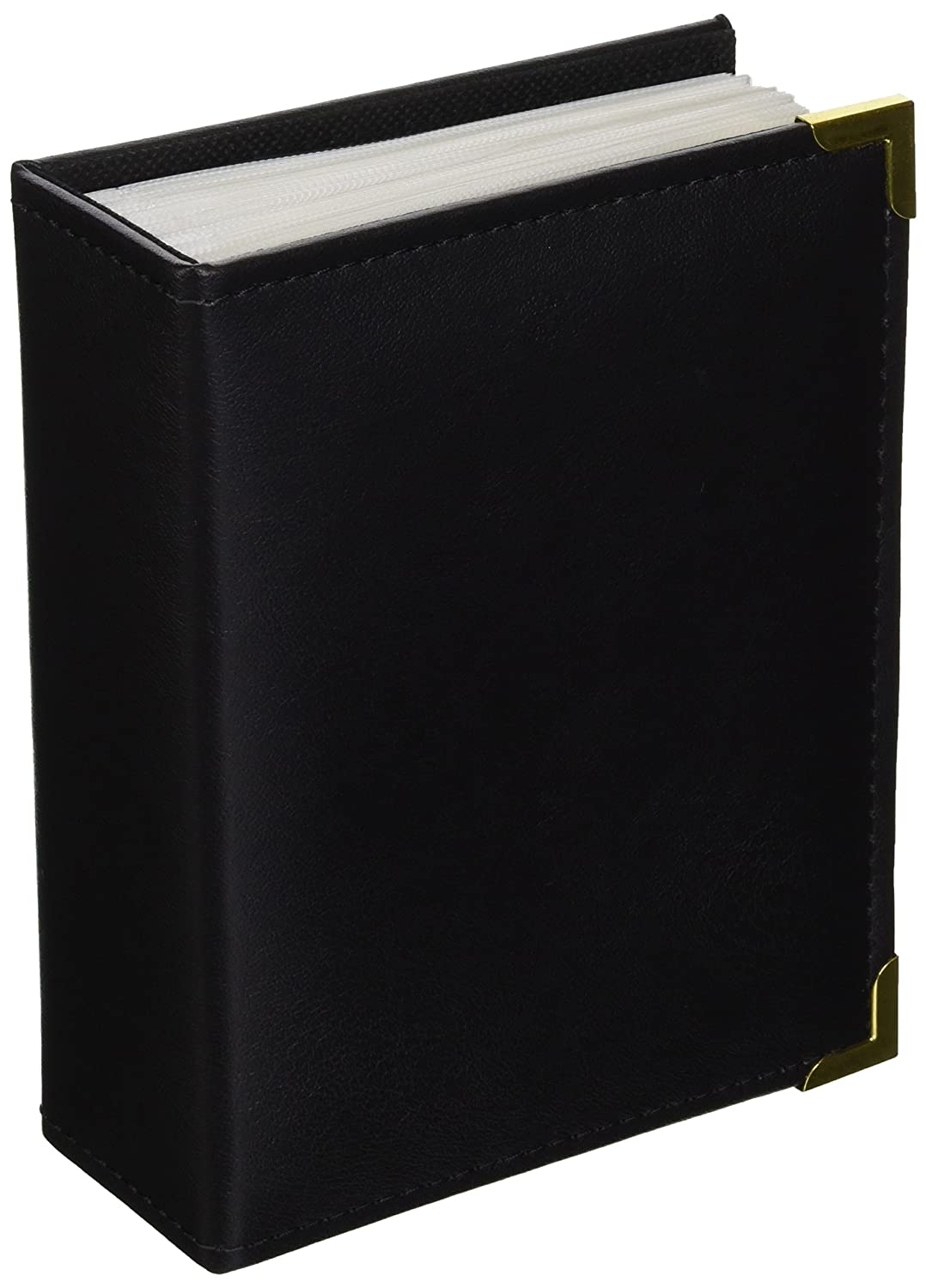 Pioneer Photo Albums 100 Pocket Brown Sewn Leatherette Cover with Brass Corner Accents Photo Album, 4 by 6-Inch E4-100/BN