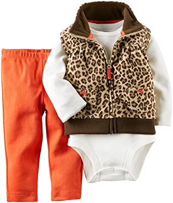 353b3e5a0 Amazon.com  Carter s Baby Girls  3 Piece Print Fleece Vest Set (Baby ...