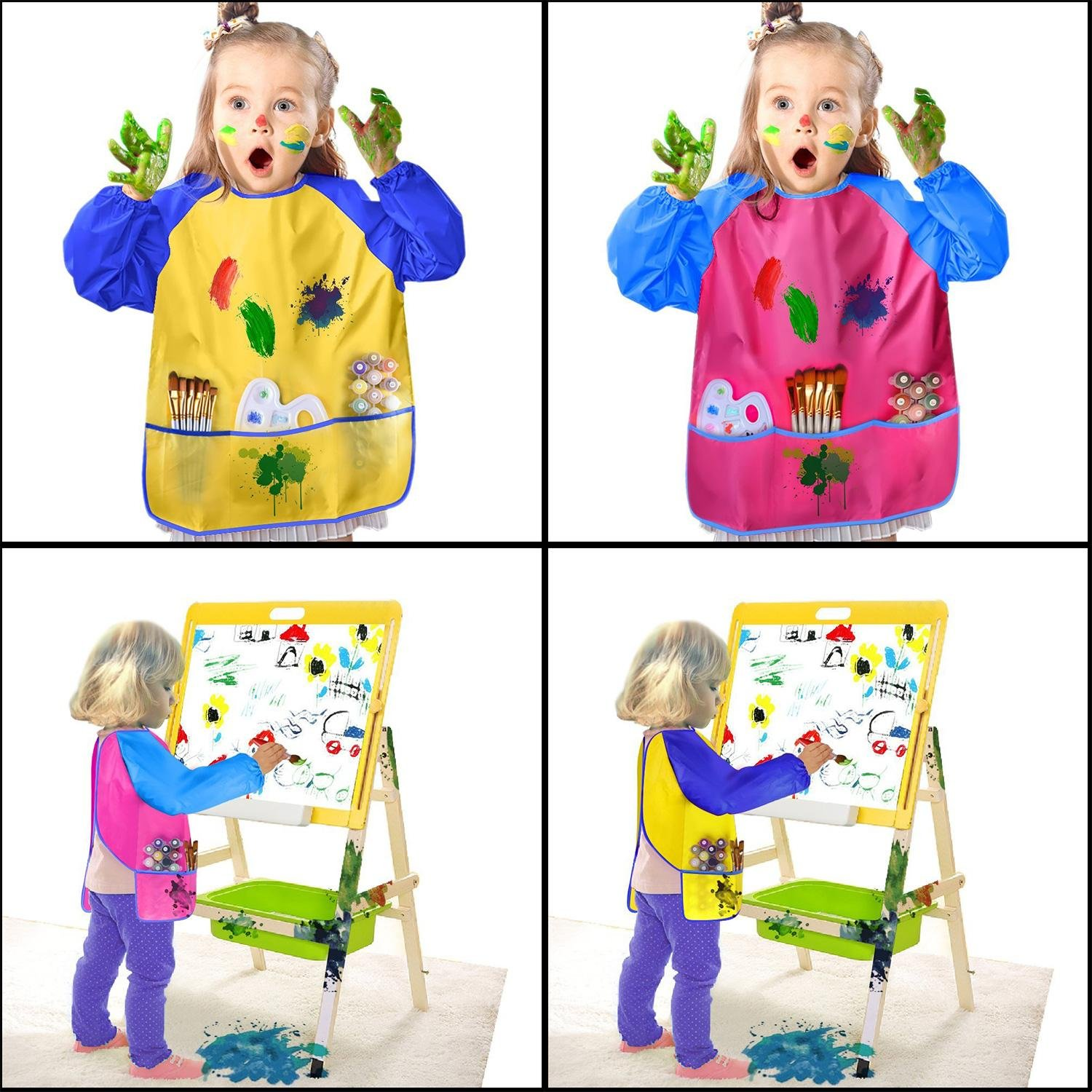 Amazon.com: Leegoal(TM) Childrens Art Smocks 2 Pack, Kids Painting Aprons, Waterproof Artist Smocks Long Sleeve Painting Apron with 3 Roomy Pockets for Age ...