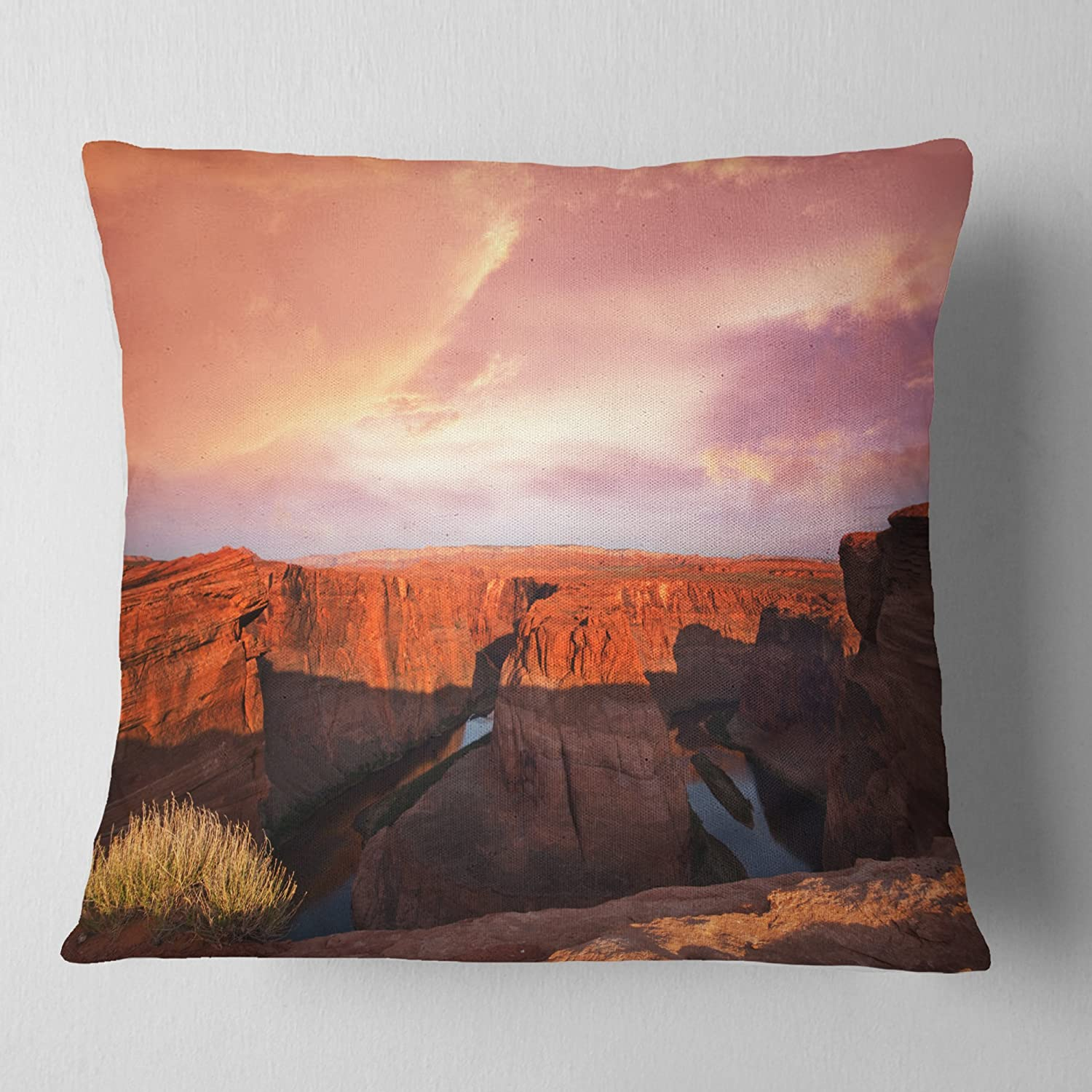 Designart CU12533-18-18 Horse Shoe Bend Under Cloudy Sky' Landscape Printed Cushion Cover for Living Room, Sofa Throw Pillow 18 in. x 18 in. in