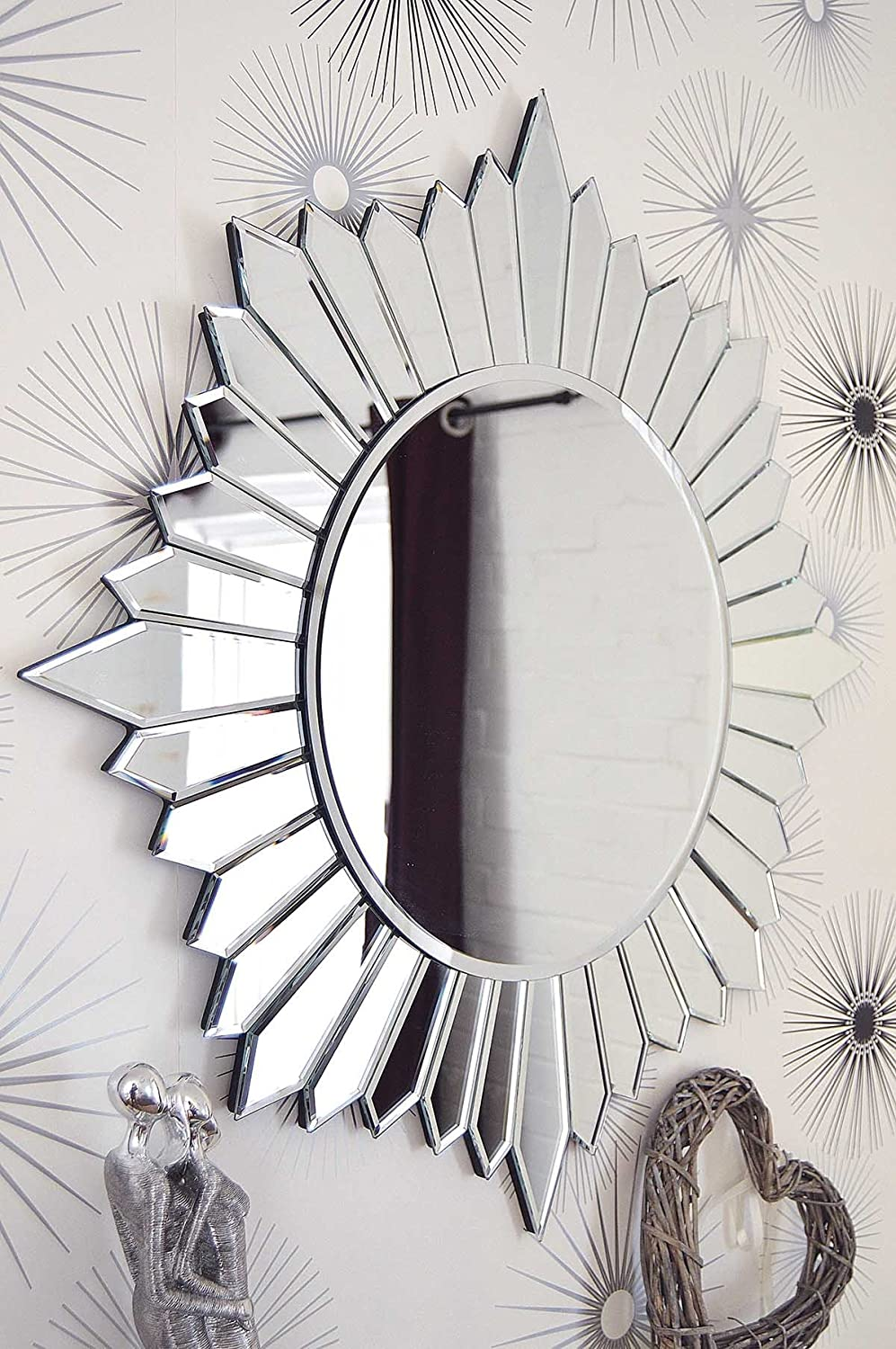 Large Modern Round Sun Design Venetian All Glass Wall Mirror 2Ft8