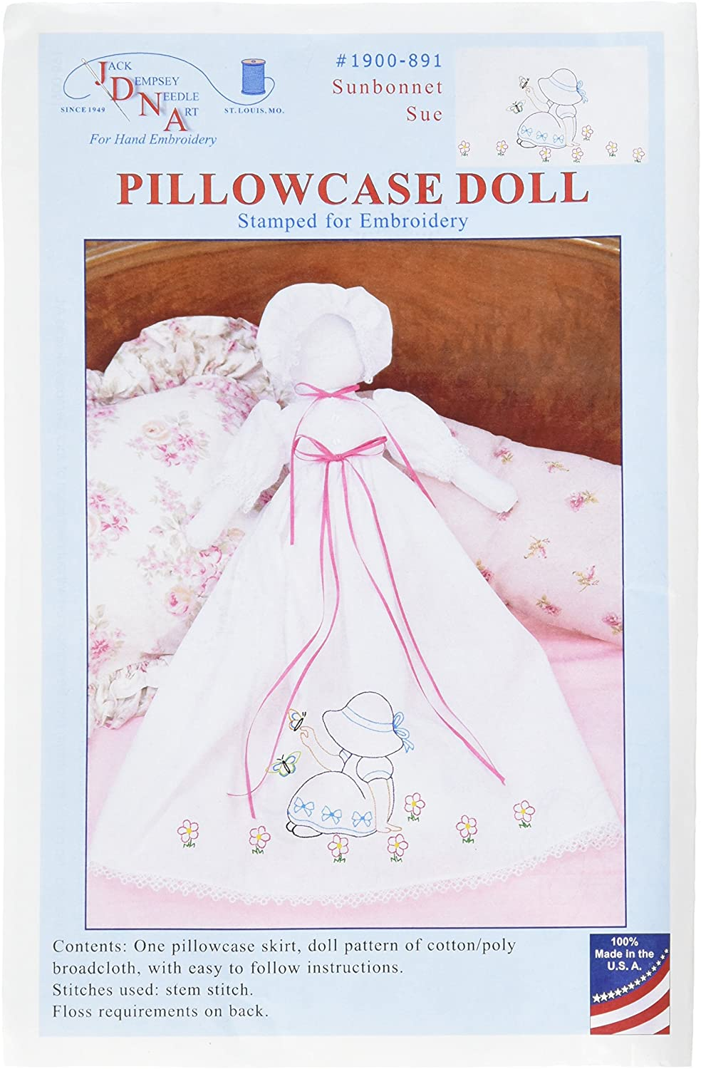 Jack Dempsey Stamped White Pillowcase Doll Kit-Fluttering Butterflies