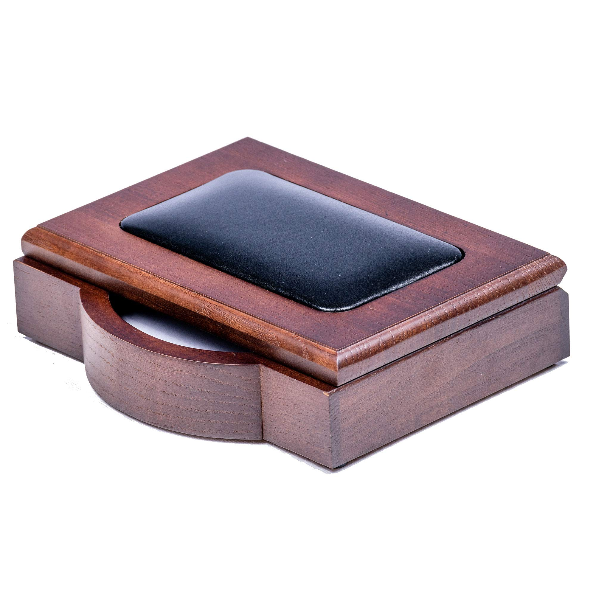 Dacasso A8409 4 x 6 Desktop Memo Holder, Wood & Leather, Walnut by Dacasso