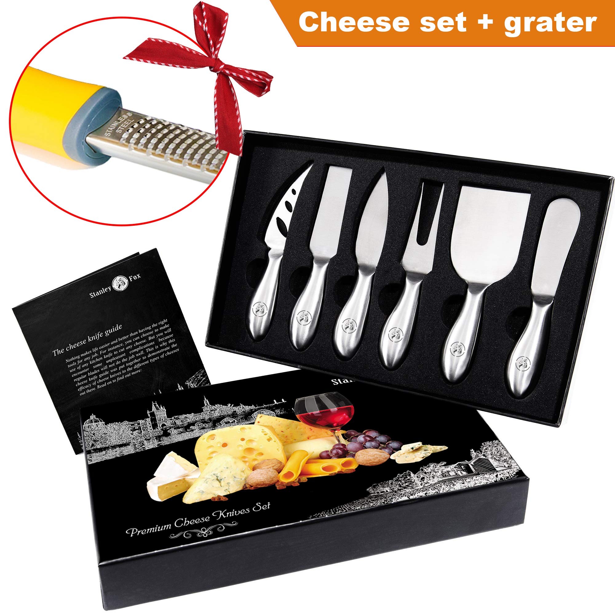 Cheese Knife set - Parmesan Cheese Grater - 6 Cheese knives - Cheese spreader - Stainless Steel Cheese Knives Collection - Cutlery Set