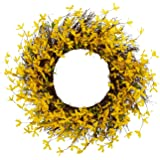 "Spring Floral Front Door Forsythia Flower Wreath 19"" Hanging Wall Window Decoration Home Office Easter Holiday Festive Decor"