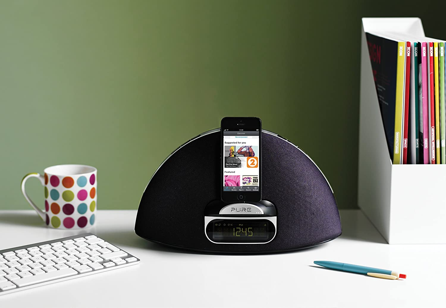 Pure Contour i1 Air Airplay Streaming System Docking Speaker Station for All Apple Items Nano iPad 1 2 3 4 Classic Iphone 1 2 3 3gs 4 4s 5 5c 5s 6 6Plus Ipad Air All Ipod Touch Ipad Mini