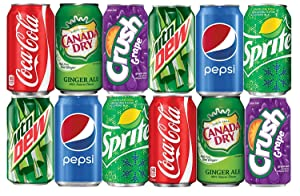LUV BOX - Assortment of Soda, Coca-Cola, Pepsi, Dr Pepper, Mountain Dew, Sprite and Ginger Ale Drinks Refrigerator Restock Kit (Pack of 12)