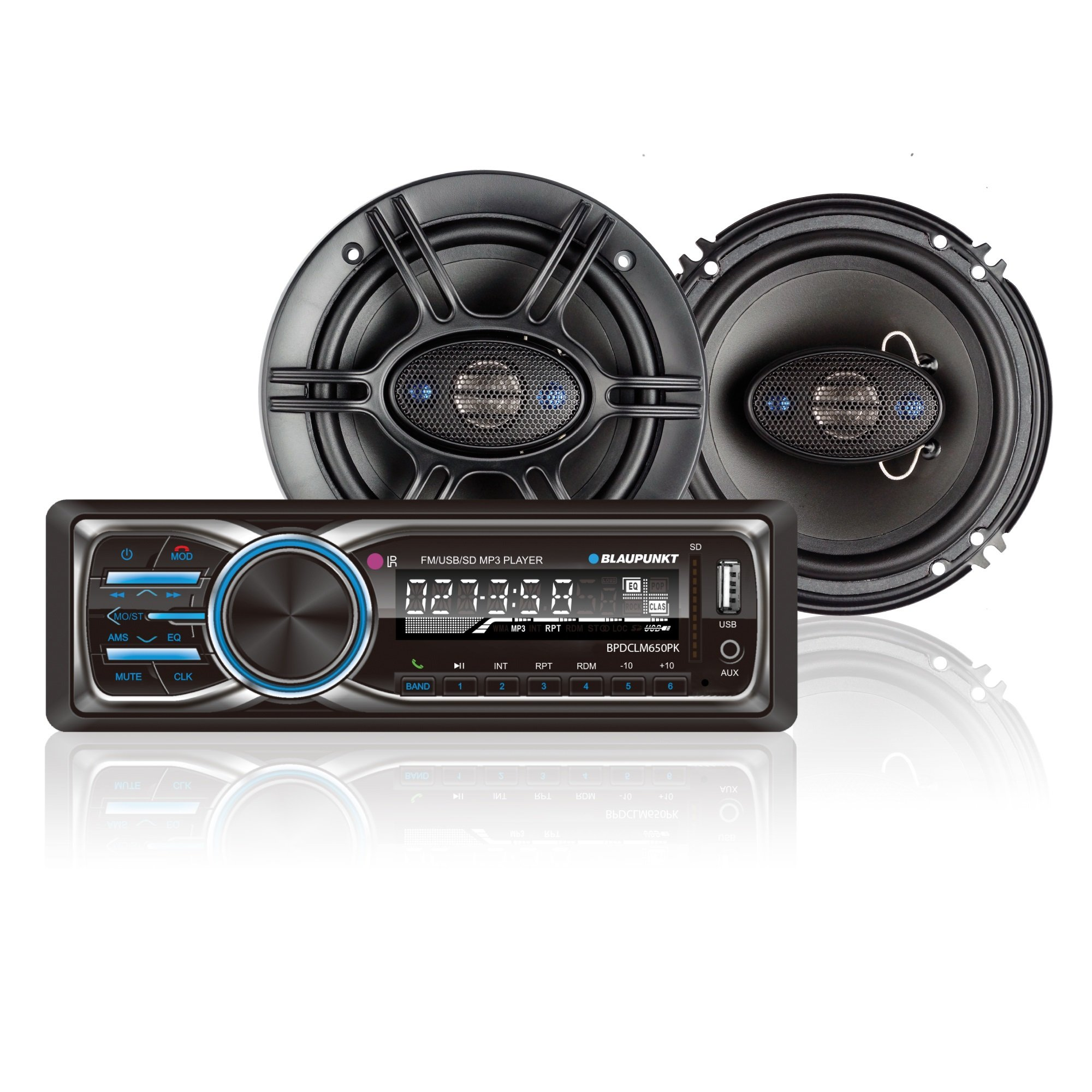 Blaupunkt Columbus 100 Stereo Receiver and GTX650 6.5-Inch 360W Coaxial Speaker Bundle