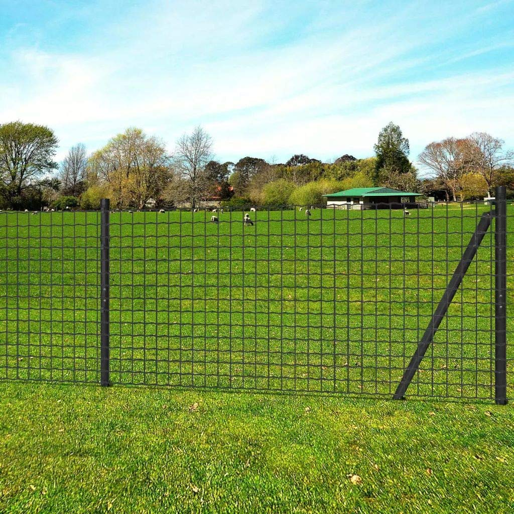 10x1m Tidyard Euro Fence Set with Ground Spikes Garden Mesh Fence Panel Set Security Fencing Steel Wire Patio Barrier Animal Edge 10x1m Steel Grey