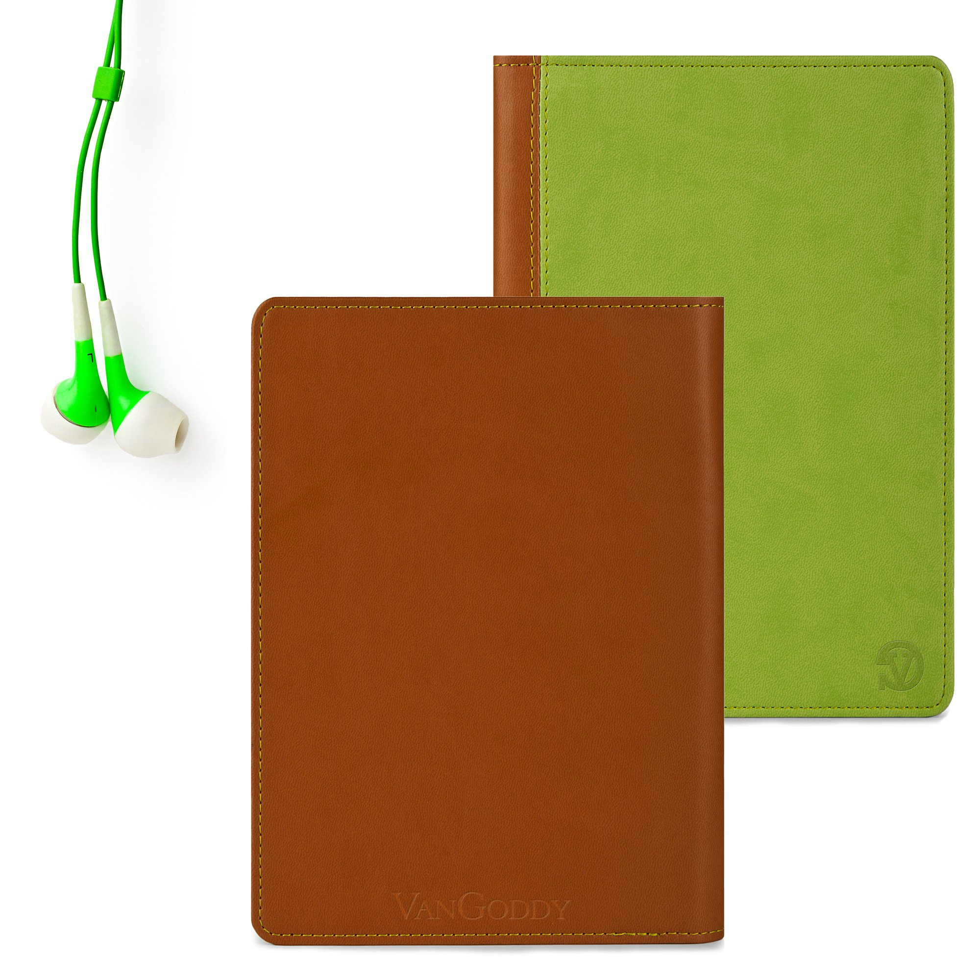 Quality you can feel, Green Vangoddy Brand Mary Collection Leather -ette Portfolio Cover Cases for All Models of the Barnes and Noble Nook HD 7 Inch Tablet (Snow 8 GB, Snow 16 GB, Smoke 8 GB, Smoke 16 GB) + Compatible Nook HD Earbud Earphones