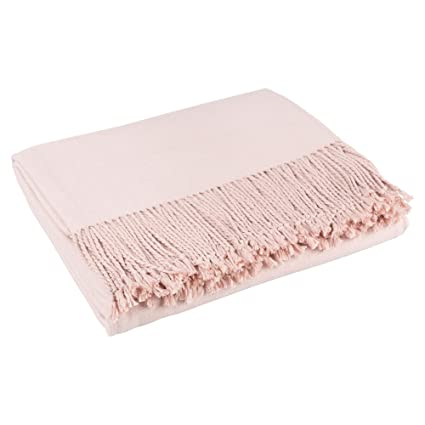 Amazon Kathy Kuo Home Hardy Classic Cashmere Silk Throw Blanket Adorable Blush Pink Throw Blanket