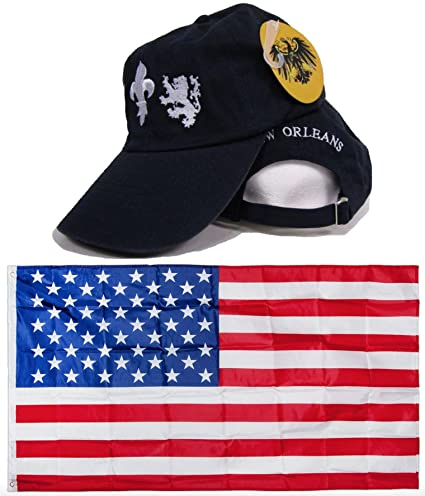 081866c8 Amazon.com : Blue Washed Style New Orleans Saints Embroidered Hat Cap & USA  Flag 3x5 Super Polyester Nylon 3'x5' Banner Grommets Double Stitched  Premium ...