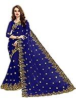 SareeShop Women's Georgette Embroidered Saree With Blouse Piece(MangoNavy-SAREE01_Navy_COLOUR)