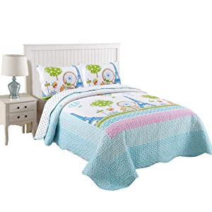 MarCielo 3 Piece Kids Bedspread Quilts Set Throw Blanket for Teens Boys Girls Bed Printed Bedding Coverlet, Full Size, Effeil Tower (Full)