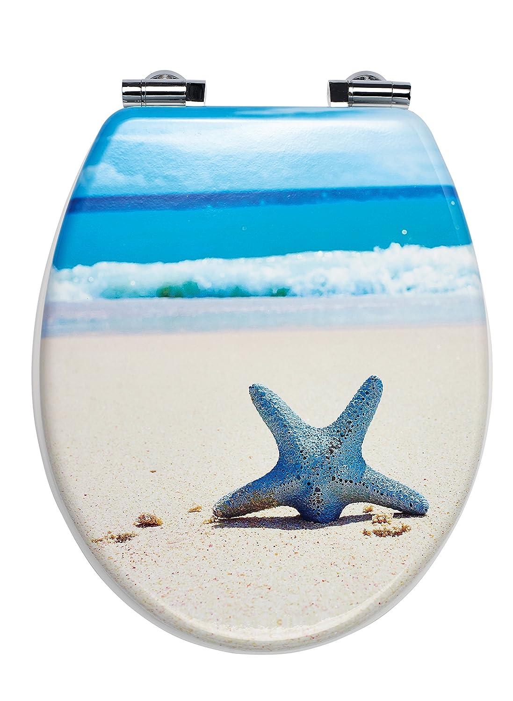 Color Azul Color Blanco Beige 44,9/x 35,8/x 5,9/cm Tablero de Fibra de Densidad Media Ridder 02109100/Estrella de mar Asiento para Inodoro con Sistema de Cierre Suave,