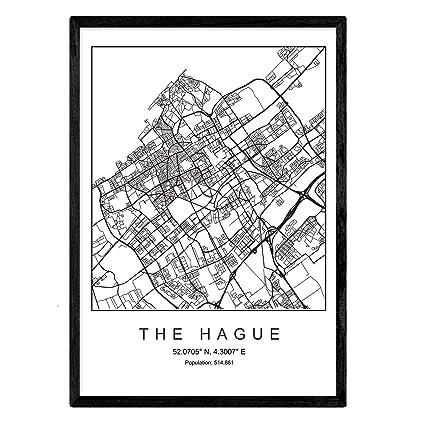 Ville Imprimer La Carte La Haye Style Scandinave En Noir Et