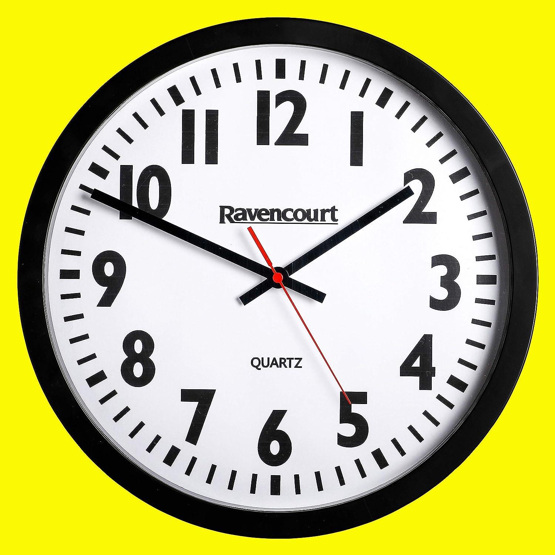 Simple /à Utiliser 35 cm Ravencourt Grande Horloge Murale /à Quartz Noir lentille incassable