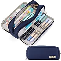 CICIMELON Large Capacity Pencil Case 3 Compartment Pouch Pen Bag for School Teen Girl Boy Men Women (Navy)