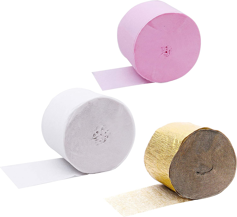 Papel Crepe Pack De 12 25mx4 5cm Dorado Blanco Rosa Papel De Colores 4 Rollos De Cada Color Papel Pinocho Para Flores Pompones Cumpleaños Bodas Baby Showers Decorar Amazon Es Hogar