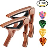 Guitar Capo SKL 2 Pack Ukulele Capo Wood Guitar Clamp Trigger Capo with 4 Free Guitar