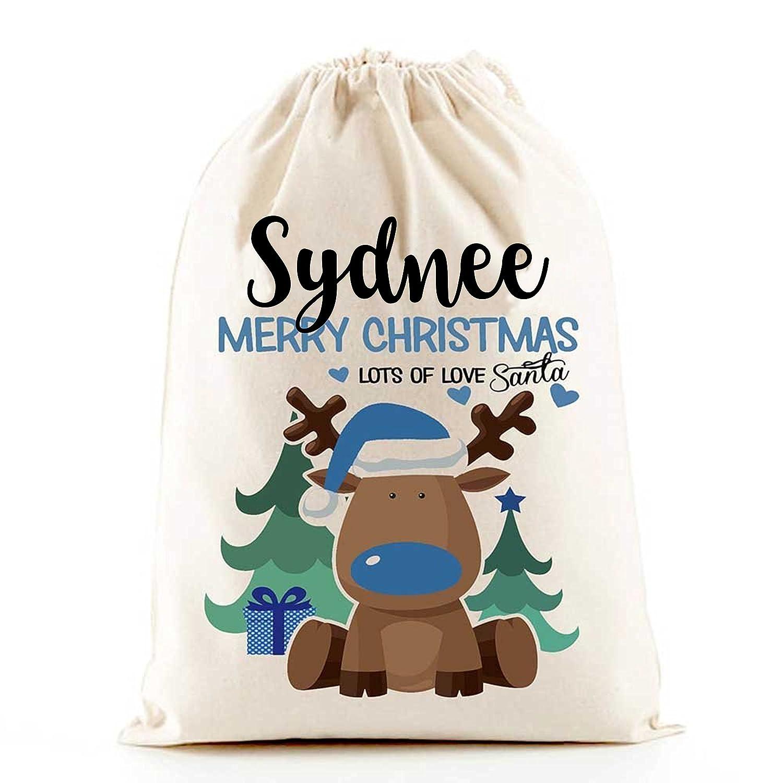 Personalised Santa Sack (Reindeer Boys Christmas) BLUE The Lazy Cow