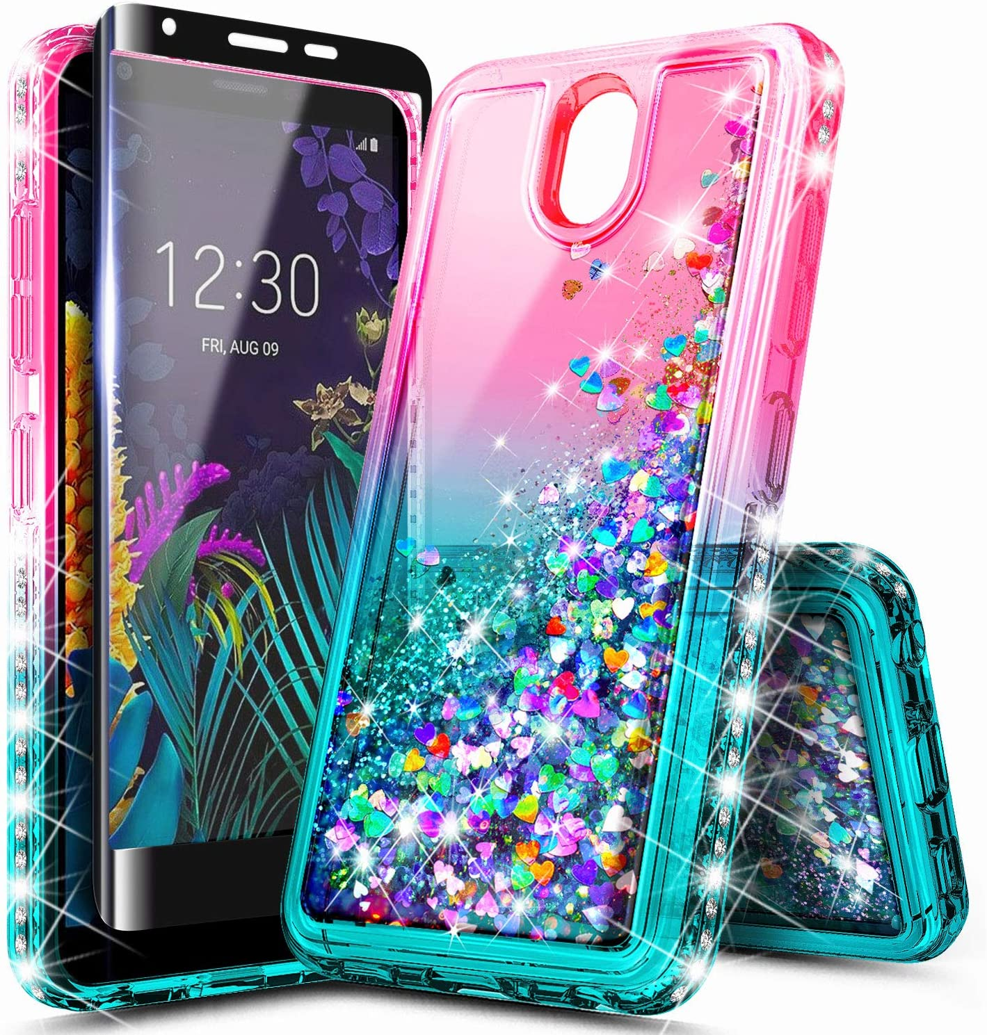 LG Escape Plus Case, Arena 2 /Tribute Royal/Journey LTE /K30 2019 Case with Tempered Glass Screen Protector (Full Coverage), NageBee Glitter Liquid Waterfall Girls Women Kids Cute Case -Pink/Aqua