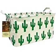 HUNRUNG Large Toy Bins,Nursery Storage,Gift Baskets,Cotton & Linen Collapsible Fabric Laundry Hampers with Handles for Baby Room,Dog Toys,Bathroom(Rectangle Cactus)